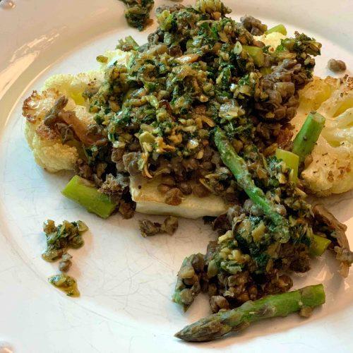 Roasted Cauliflower Steaks With Lentils Asparagus And Pesto Fresco Apple A Day Doc