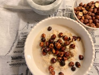 Savory Oatmeal with Roasted Hazelnuts