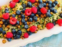 Lemon Mint Freekeh Salad with Summer Berries